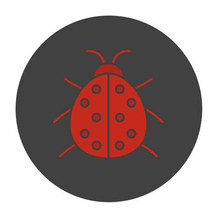 Ladybug glyph color icon. Ladybird. Silhouette symbol on black background. Negative space. Vector illustration Illustration