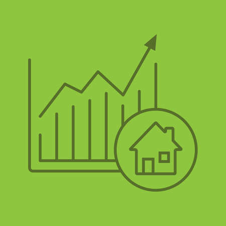 Real estate market growth chart color linear icon. Houses price rise. Thin line outline symbols on color background. Real property market growing graph. Vector illustration