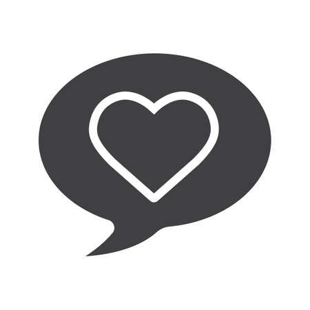 Romantische Konversation Glyph-Symbol. Silhouette Symbol. Chat-Box mit Herzform. Negativer Raum. Vector isolierte Darstellung