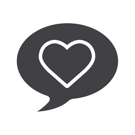 Romantic conversation glyph icon. Silhouette symbol. Chat box with heart shape. Negative space. Vector isolated illustration