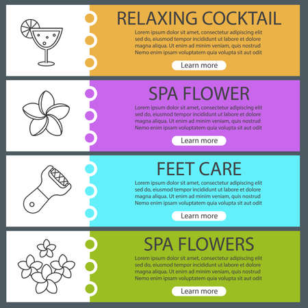 rasp: Spa salon web banner templates set. Cocktail, plumeria flowers, foot rasp. Website color menu items with linear icons. Vector headers design concepts