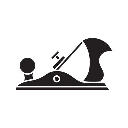 Jack plane glyph icon. Carpenter tool. Carpentry silhouette symbol. Negative space. Jack-plane vector isolated illustration