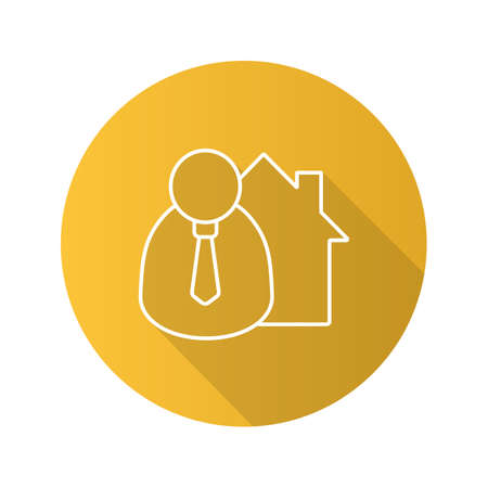 Broker flat linear long shadow icon. Realtor. Real estate market agent. Vector outline symbol