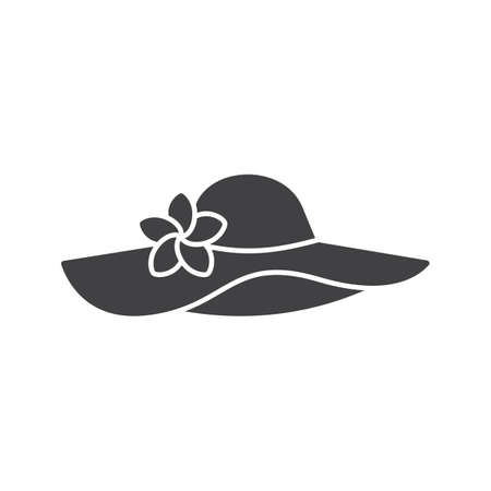 Womens beach hat glyph icon. Silhouette symbol. Negative space. Vector isolated illustration Illustration