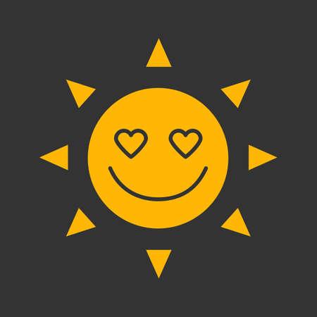 In love sun smile glyph color icon. Good romantic mood. Emoticon silhouette symbol on black background. Negative space. Vector illustration