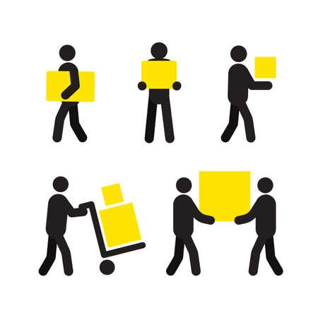 Les gens au travail ensemble de silhouette. Service de livraison. Personnel. Les déménagements Illustration vectorielle isolée Expédition. Parcelle. Livreur, courrier Banque d'images - 84522793