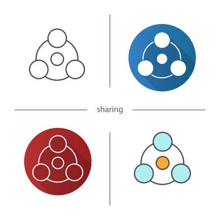 Compartir icono de símbolo. Diseño plano, estilos lineales y de color. Ilustraciones vectoriales aisladas
