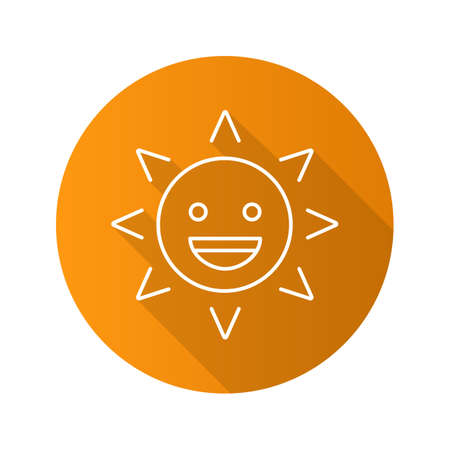 Laughing sun smile flat linear long shadow icon. Good mood. Happy sun face with smile. Summertime. Emoticon vector outline symbol Illustration