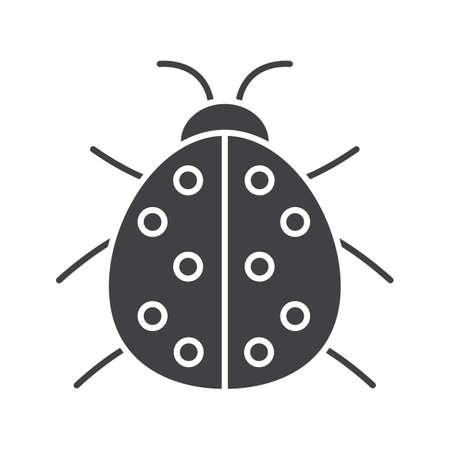 Ladybug glyph icon. Silhouette symbol. Ladybird. Negative space. Vector isolated illustration