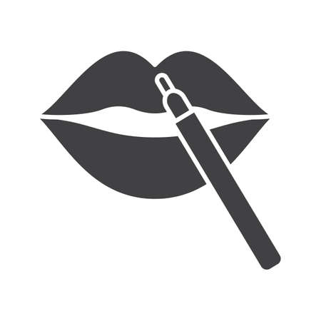 Pencil lipstick glyph icon. Makeup. Women goods. Cosmetic applying. Lip contouring. Silhouette symbol. Negative space. Lip contouring. Vector isolated illustration
