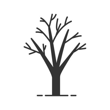 Tree without leaves glyph icon. Silhouette symbol. Autumn season. Negative space. Vector isolated illustration