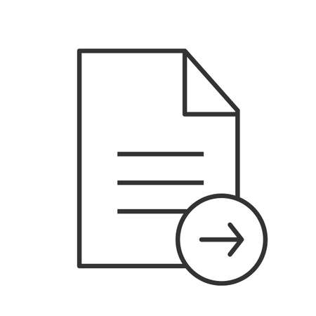 Send document linear icon. Thin line illustration. Text file with right arrow contour symbol. Vector isolated outline drawing