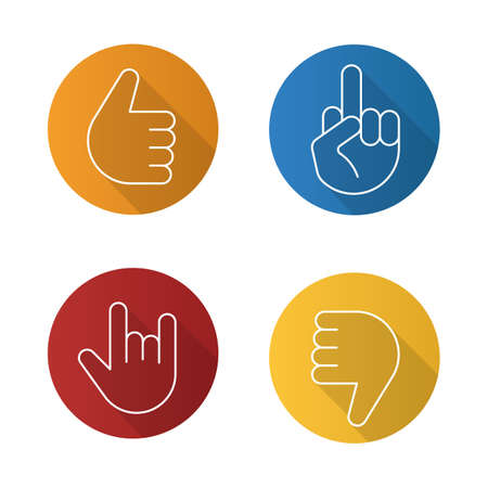 Hand gestures flat linear long shadow icons set. Thumbs up, dislike, heavy metal, middle finger up. Vector outline illustration Ilustrace
