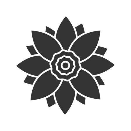 Lotus flower glyph icon. Silhouette symbol. Negative space. Vector isolated illustration Illustration