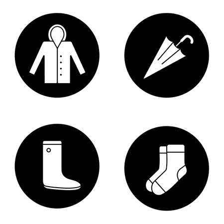 Autumn weather glyph icons set. Raincoat, warm socks, watertight, closed umbrella. Vector white silhouettes illustrations in black circles