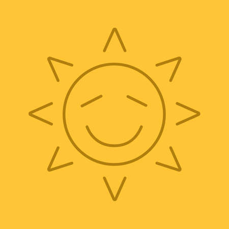 Happy sun smile linear icon. Thin line outline symbols on color background. Smiley sun face with closed eyes. Emoticon vector illustration Illustration