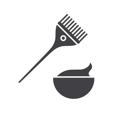 Hair dyeing kit glyph icon. Women goods. Brush with cream in bowl. Silhouette symbol. Cosmetics. Negative space. Vector isolated illustration
