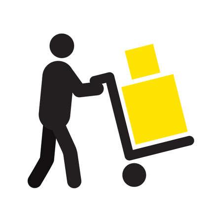 Hombre que lleva dos cajas con la silueta del carro de mano. Carrito de mano. Servicio de entrega. Envío. Paquete. Mudanzas. Equipaje. Ilustración vectorial aislados. Entrevistador, mensajero Foto de archivo - 84523047