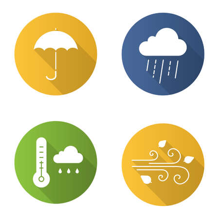 gamp: Autumn weather flat design long shadow glyph icons set. Rainy cloud with thermometer, umbrella, wind blowing. Vector silhouette illustration
