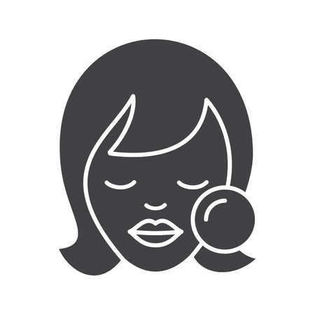 Makeup glyph icon. Woman face with makeup sponge. Blush application. Beauty salon. Silhouette symbol. Cosmetic removing. Negative space. Vector isolated illustration Illustration