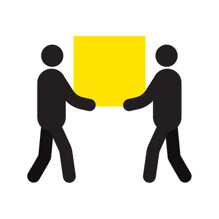 Two men carrying big square box in hands silhouette. Removal men. Delivery service. Shipment. Removals. Isolated vector illustration