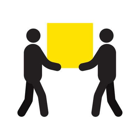 Deux hommes portant une grande boîte carrée dans la silhouette des mains. Déménagement Service de livraison. Expédition. Déménagements. Illustration vectorielle isolé