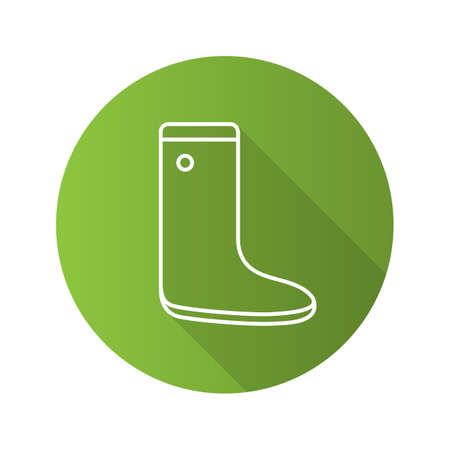 Watertight flat linear long shadow icon. Gumboot. Vector outline symbol Ilustrace