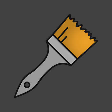 printmaking: Paint brush color icon. Construction paintbrush. Isolated vector illustration