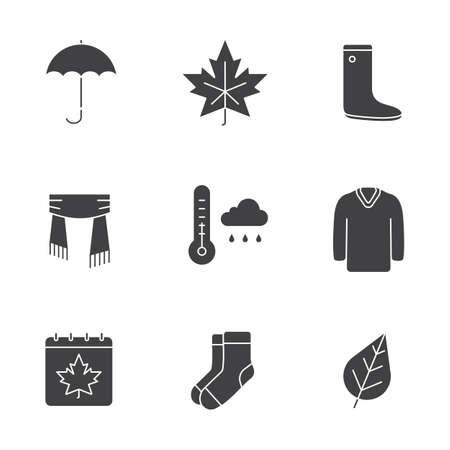 Autumn glyph icons set. Silhouette symbols. Umbrella, warm socks, maple leaf, watertight, scarf, sweater, autumn weather and calendar. Vector isolated illustration