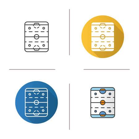 hockey goal: Ice hockey rink icon. Flat design, linear and color styles. Hockey stadium scheme. Isolated vector illustrations Illustration