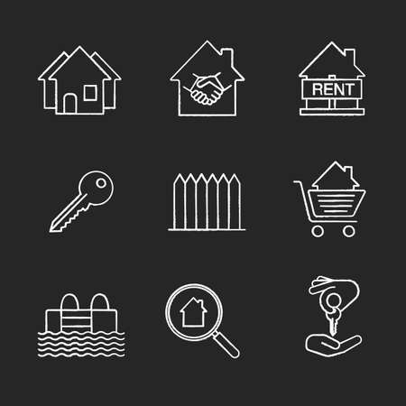 homebuyer: Real estate market chalk icons set. Neighborhood, house for rent, key, fence, swimming pool, real estate deal, homebuyer, shopping cart with house inside. Isolated vector chalkboard illustrations