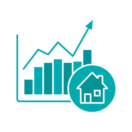 house logo: Real estate market growth chart glyph color icon. Houses price rise. Silhouette symbol on white background. Negative space. Vector illustration