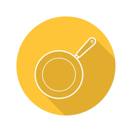Frying pan flat linear long shadow icon. Skillet. Vector outline symbol