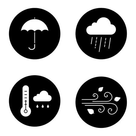Autumn weather glyph icons set. Rainy cloud with thermometer, umbrella, wind blowing. Vector white silhouettes illustrations in black circles