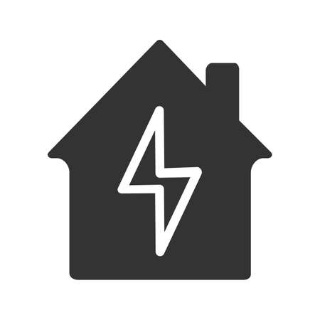 Home electrification glyph icon. Electric utilities. Silhouette symbol. House with lightning bolt inside. Negative space. Vector isolated illustration