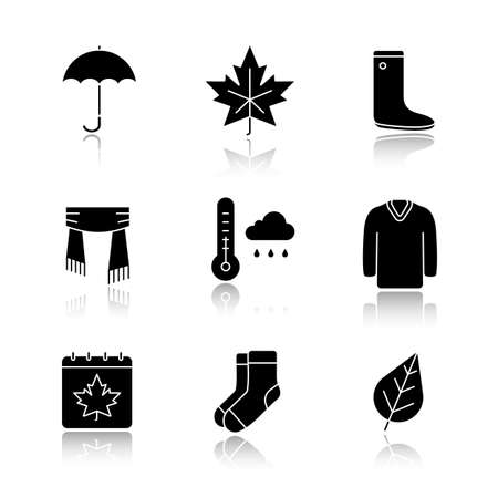 Autumn drop shadow black glyph icons set. Umbrella, warm socks, maple leaf, watertight, scarf, sweater, sweater, autumn weather and calendar. Isolated vector illustrations