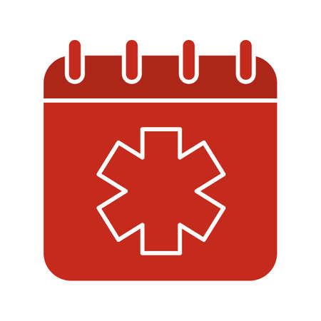 World Ambulance Day glyph color icon. Calendar page with star of life. Silhouette symbol on white background. Negative space. Vector illustration Illustration