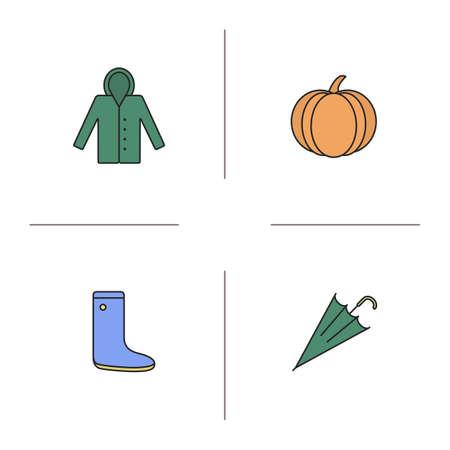 rainy season: Autumn season color icons set. Raincoat, pumpkin, rubber boot, closed umbrella. Isolated vector illustrations Illustration