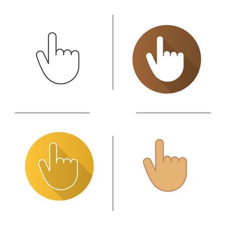 Icono de gesto de mano de atención. Diseño plano, lineal y de color. Hacer hincapié. Ilustraciones vectoriales aisladas