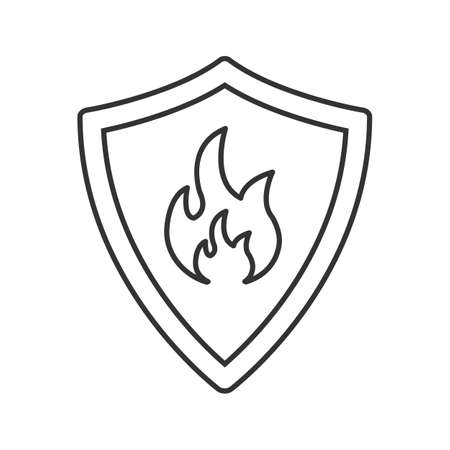 private security: Firefighters badge linear icon, Thin line illustration of Protection shield with fire. Illustration