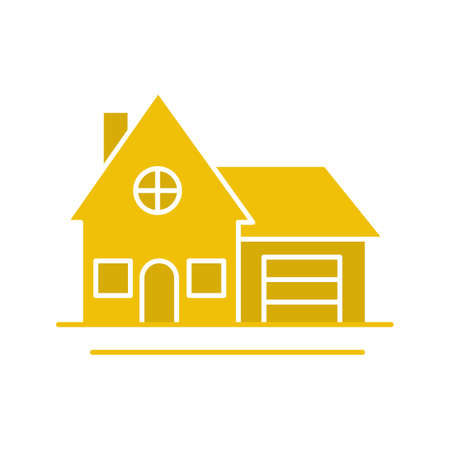 Cottage glyph color icon. Family house. Residence. Silhouette symbol on white background. Negative space. Vector illustration Illustration