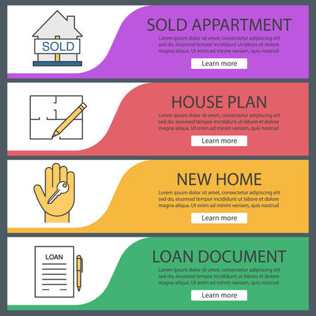 homebuyer: Real estate web banner templates set. Sold house, floor plan, hand with key, loan agreement. Website color menu items. Vector headers design concepts