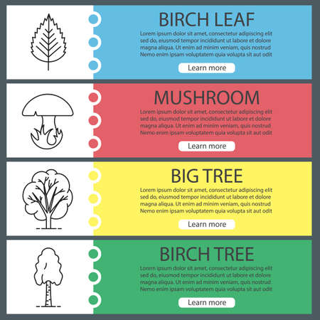 web site design template: Forest web banner templates set. Birch tree and leaf, mushroom, big tree. Website color menu items with linear icons. Vector headers design concepts
