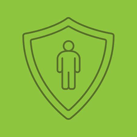Bodyguard linear icon. Man inside protection shield. Thin line outline symbols on color background. Vector illustration Illustration