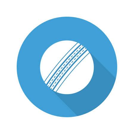 sports equipment: Cricket ball flat design long shadow glyph icon. Vector silhouette illustration Illustration