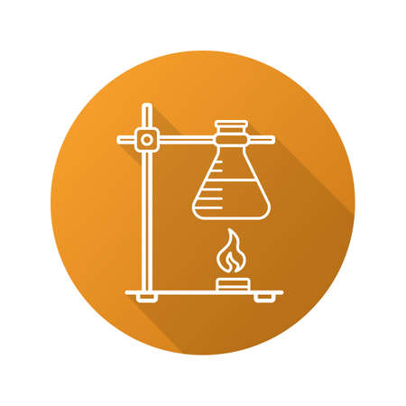 over lab: Chemical reaction flat linear long shadow icon. Ring stand with flask over fire. Vector outline symbol