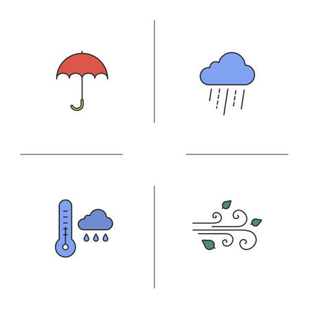 gamp: Autumn weather color icons set. Rainy cloud with thermometer, umbrella, wind blowing. Isolated vector illustrations Illustration