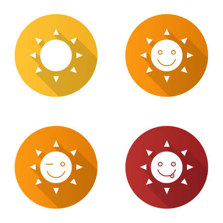 Sun smiles flat design long shadow glyph icons set. Good mood. Smiling, yummy and winking sun smiles. Vector silhouette illustration