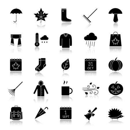 Autumn drop shadow black glyph icons set. September 1 and October 31 silhouette symbols. Warm clothes, autumn sale, leaves, umbrella, calendar, rake, sale, rainy weather. Isolated vector illustrations