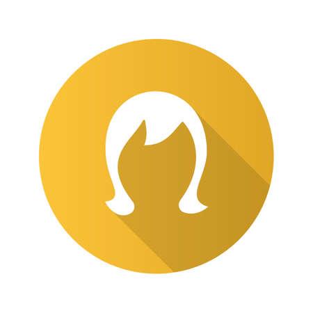Wig flat design long shadow glyph icon. Periwig. Vector silhouette illustration